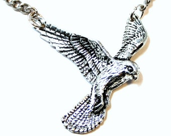 Kestrel Bird of Prey Necklace in English Pewter, Handmade and Gift Boxed (ab) .