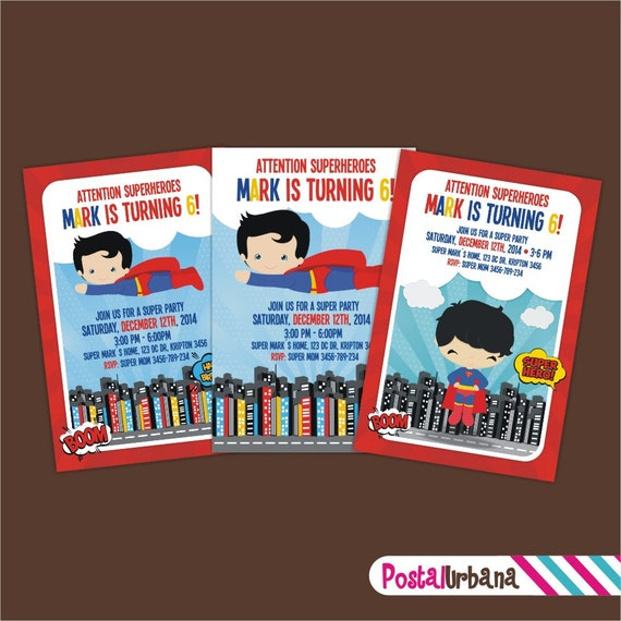 INVITACION Superman / Tarjeta Superman / por PostalUrbana en Etsy