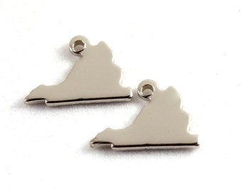 2x Silver Plated Blank Virginia State Charms - M070-VA