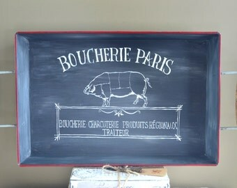 Hand Painted Chalkboard Look French Butcher Sign Tray