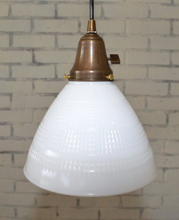 Items Similar To Vintage Hobnail Milk Glass Shade Pendant
