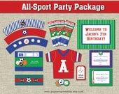 All Sport Party Package Printable- Birthday Collection- Editable Text PDF- Personalize- Adobe Reader- For Boys & Girls- All Star- 42 Pages