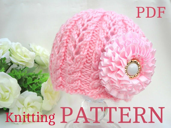 Knitting Pattern Baby Beanie Knit Pattern Baby Hat Baby Girl