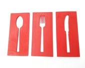 24'' Red Kitchen Art Wood Plaques Fork Spoon Knife Contemporary Wall Art Custom Colors Available