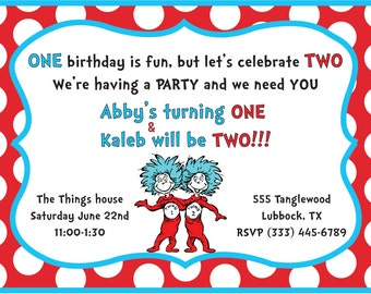 Thing One, Thing Two Birthday Party Invite