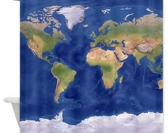 Modern Map Shower Curtain -  Modern Relief Map - lapis blue oceans, globe,  atlas, shower,  bathroom, decor, continents, oceans