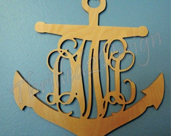 Anchor Border Vine Wooden Monogram - Wedding, Nursery, Home, Nautical