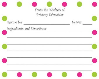 Hot Pink and Lime Green Dots Personalized Recipe Card