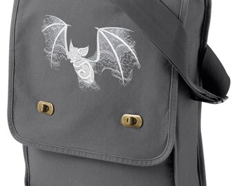 Ghost Baroque - Bat Embroidered Canvas Field Bag