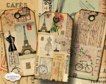 Vintage Ephemera Tags 1 - Instant Download - Digital Collage Sheet - Printable Tags - Ephemera - Vintage Tags - Digital Tags - aceo atc