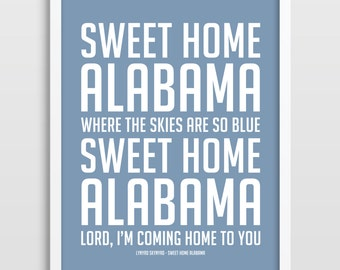 Song lyric art song lyrics typographic print sweet home for Who sang the song sweet home alabama
