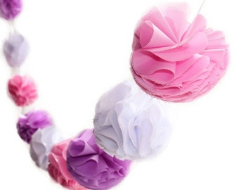 Pink, Purple and White Pom Pom Garland with Fabric Poms