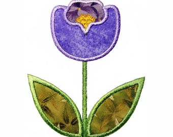 "Purple Tulip  Applique Machine Embroidery Design Pattern in 3 sizes 4"", 5"" and 6"""