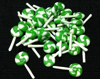 20 Miniature Lollipops Clay Polymer Green White Candies Sweet Cute Small Lollipop Dollhouse Sweets Fimo Food Jewelry Supplies Candy 1/12
