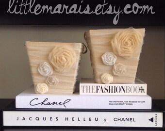 Couture Rosette Flower Girl Baskets / Pails