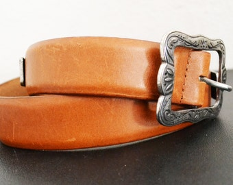 Brown Leather belt, Silver Tone Buckle,FREE SHIPPING
