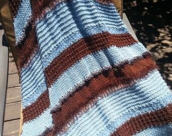 Handmade Afghan Throw Blanket Light Blue & Dark Brown Soft Decor (04134) gift