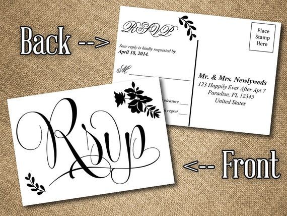 DIY Wedding RSVP Postcard Word Template Vintage Romance – Rsvp Card Template Word
