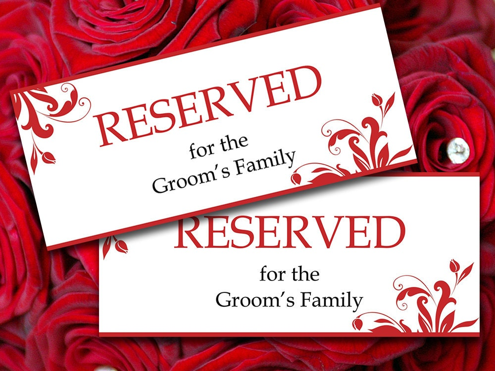 Reserved Table Signs Template Wedding Reserved Sign Template