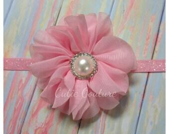 Pink Headband, Pink newborn Headband, pink flower Headband, pink Flower Girl Headband, Pink Hair Clip, Birthday Headband,Valentine's day