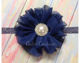 Lyla- Navy Headband with pearl, Blue Headband, Navy Flower Girl headband, Navy Hair Clip, Navy Birthday Headband, navy baby headband
