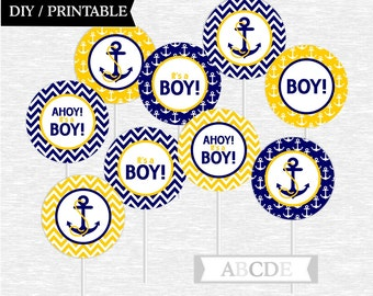 Instant Download Cupcake Toppers Baby Shower decorations Ahoy Its a boy Nautical baby Shower DIY Printable (PDN014)