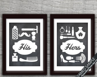 His And Hers Bathroom Prints (series B)   Set Of 2   Art Print