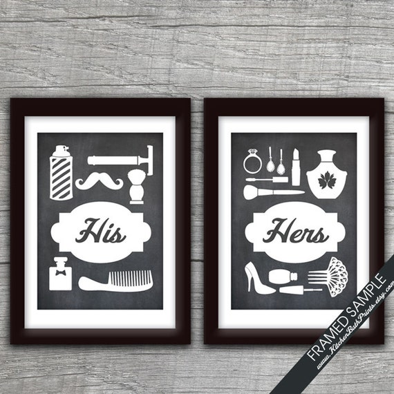 his and hers bathroom prints series b set of 2 art print