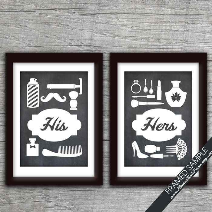 His and hers bathroom prints series b set of 2 art print for His and hers bathroom set