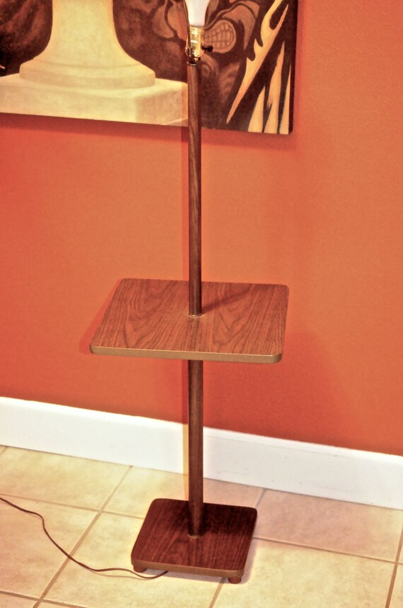 mid century modern pole lamp end table by midcenturymetropolis. Black Bedroom Furniture Sets. Home Design Ideas