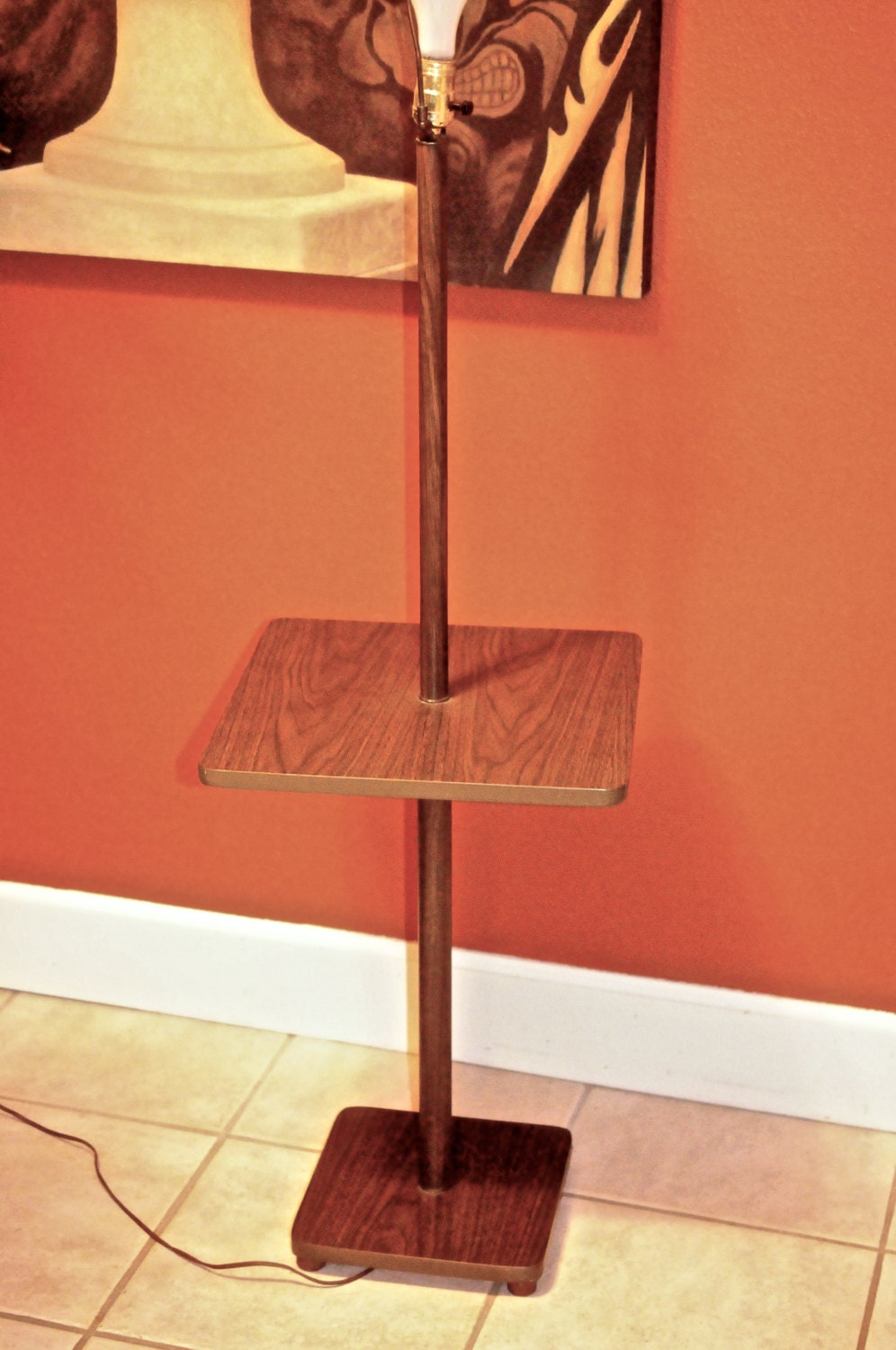 mid century modern pole lamp end table by midcenturymetropolis. Black Bedroom Furniture Sets. Home Design Ideas