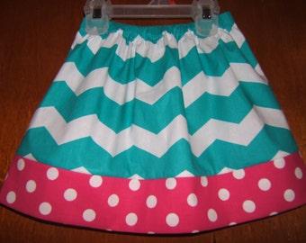 Girls Twirl Skirt, Turquoise Chevron, Hot Pink Polka Dot, 12month-8years, Infant, Toddler Girl, Beach Vacation, Spring Skirt, Summer