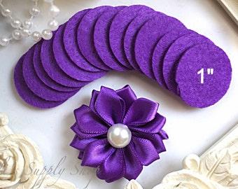 "25 Purple Felt 1"" Circles - 1"" Felt Circles - Flower Backing - Purple felt Circles - Mini felt circles - felt circle pads for Headbands"