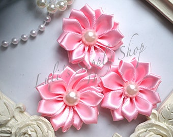 "3 Pink 1.5"" Satin Flowers w/ Pearl Center - Petite Satin flower - Satin Ribbon Flower - Fabric Flower - wholesale flowers"