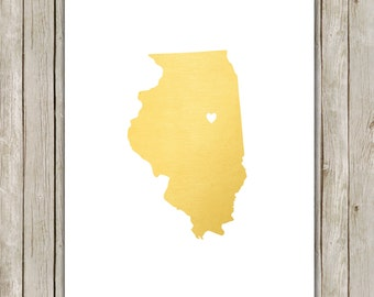 8x10 Illinois State Printable, State Wall Art, Metallic Gold Printable Art, Illinois Poster, Office, Home Decor, Instant Digital Download