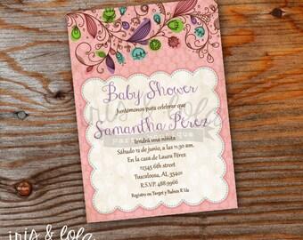 Spanish Girly Baby Shower Digital Invitation