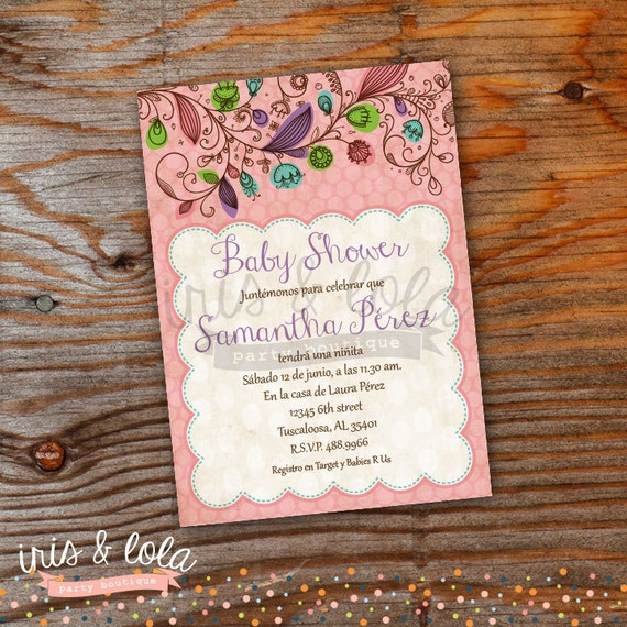 spanish girly baby shower digital invitation