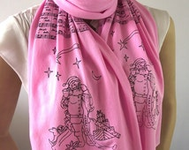 CHRISTMAS Santa Claus Infinity Scarf Jingle Bells Song Music Scarf Santa Claus Music Notes Scarf Christmas Lovers Gift