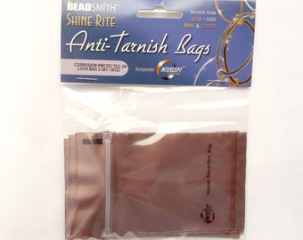10 Anti Tarnish Bags, Protect Your Jewelry, Gold Silver Brass Copper. Corrosion Protection Zip Lock Bag, BeadSmith Shine Rite, UK Seller