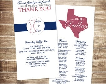4x8 Wedding Welcome Card with Schedule and Things to do in the Area
