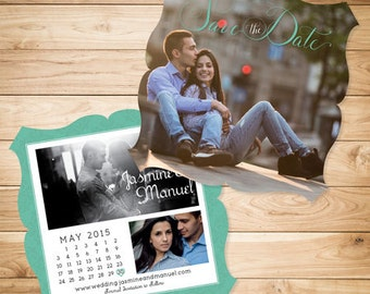 Photo Save the Date Cards & Envelopes with Calendar- 5x5 Die Cut