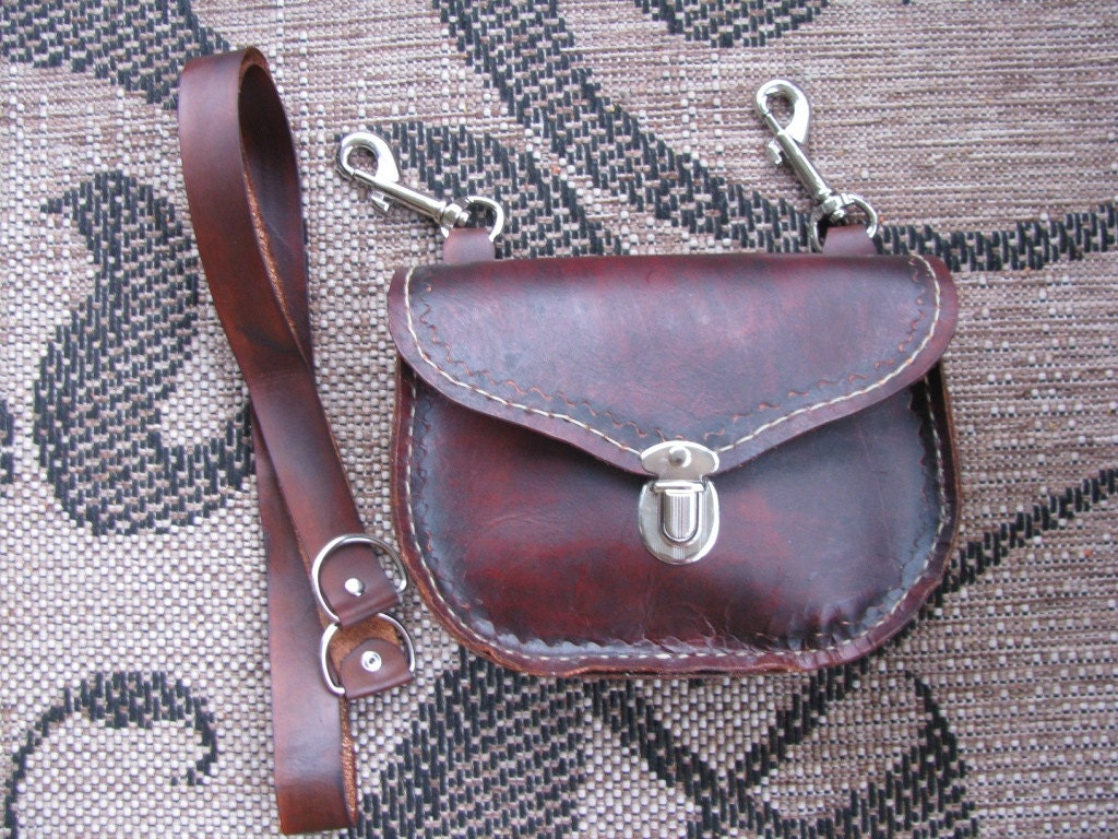 free shipping leather biker belt clip bag