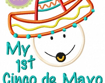 My 1st Cinco de Mayo Baby Machine Embroidery Applique Design