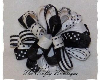 Black & White Bow ~ Black Polka Dot Bow ~ Black Striped Bow ~ Loopy Hair Bow ~ Black Loopy Bow ~ Black Hair Bow ~ White Hair Bow ~ Loopy Bow