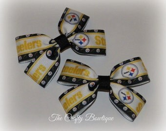 Pittsburg Steelers Bow ~ Black & Yellow Bow ~ Sports Team Bow ~ NFL Bow ~ Football Hair Bow ~ Steelers Clippies ~ Steelers Pigtails