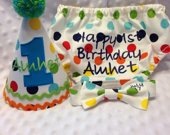 Boys Cake Smash Set - Primary Dots - Diaper Cover, Bow Tie & Birthday Hat - Birthday Outfit