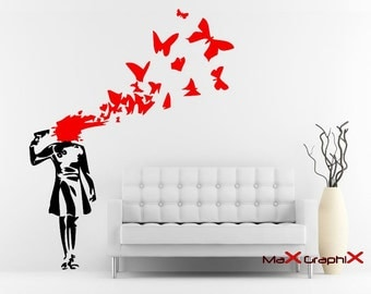 Banksy Wall Decal, Suicide Butterflies Inspired Removable Wall Decal