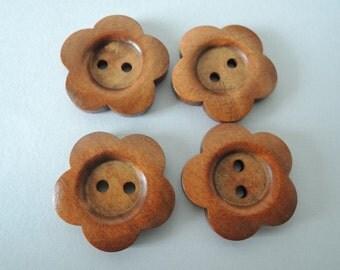 12Pcs  28mm brown flower  shape  Wood button 2 holes( W721)