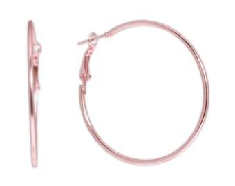 Metallic Strawberry Pink Large Steel Hoop Earrings, 2 Inch Diameter