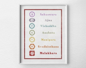 Chakra Print, Yoga Print, Yoga Studio Decor, Metaphysical Art, Chakra Art, Wall Art, Yoga Poster, Meditation Art, New Age Art, 0050